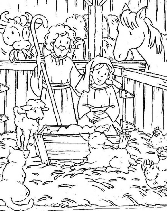 Baby Jesus, : Nativity of Baby Jesus in a Manger Coloring Page ...