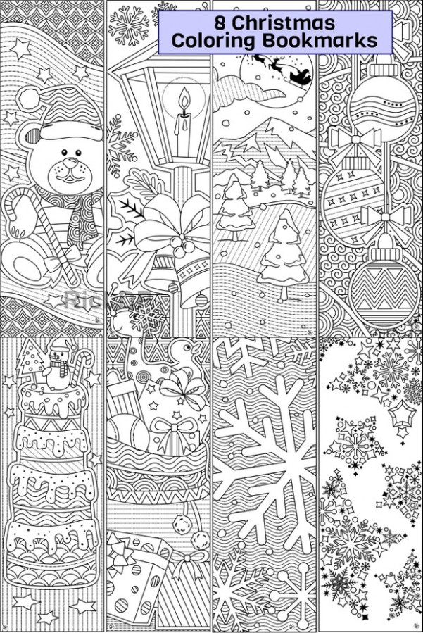 Bundle of 15 Christmas Coloring Markers – RicLDP Artworks – Christmas Coloring Bookmarks