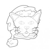 Cat with santa hat coloring pages - Hellokids.com