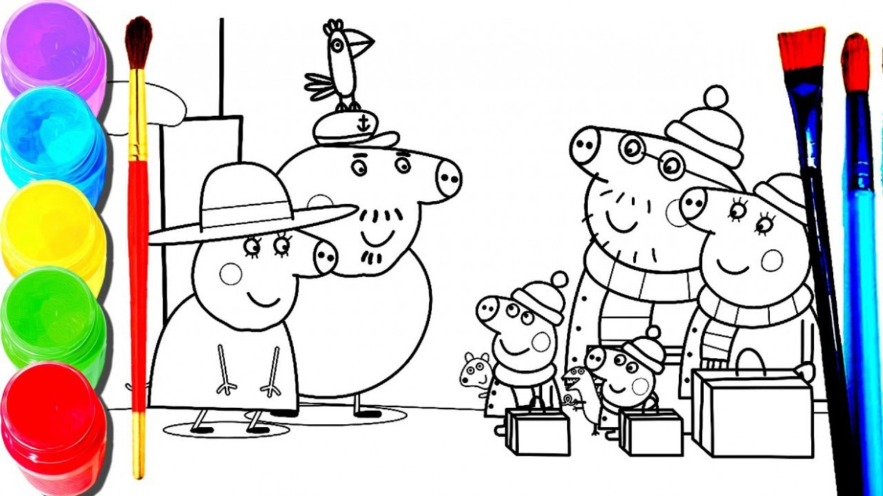 Characters with Mummy Pig Christmas Coloring Book – Learning Drawing ..