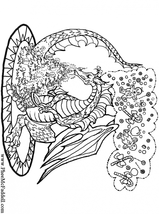 Charistmas Dragon www.pheemcfaddell.com | !My coloring pages ...