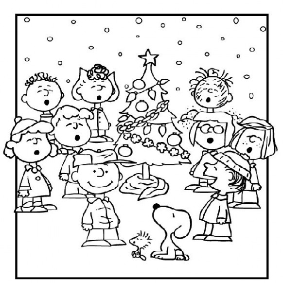 Charlie brown christmas coloring page – Coloring pages for kids – Printable Charlie Brown Christmas Coloring Pages