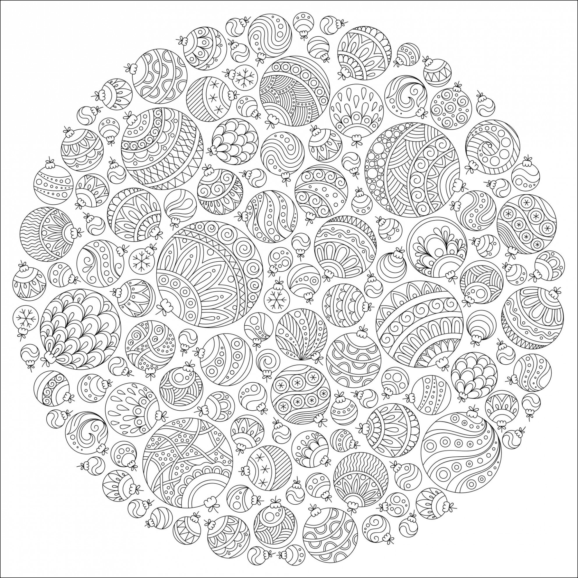 Christmas ball ornaments mandala - Christmas Adult Coloring Pages