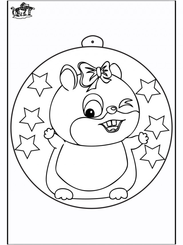 Christmas ball with hamster – Coloring pages Christmas – Christmas Hamster Coloring Pages