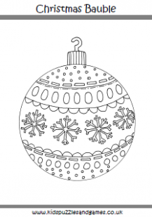 Christmas Bauble Coloring Page - Kids Puzzles and Games