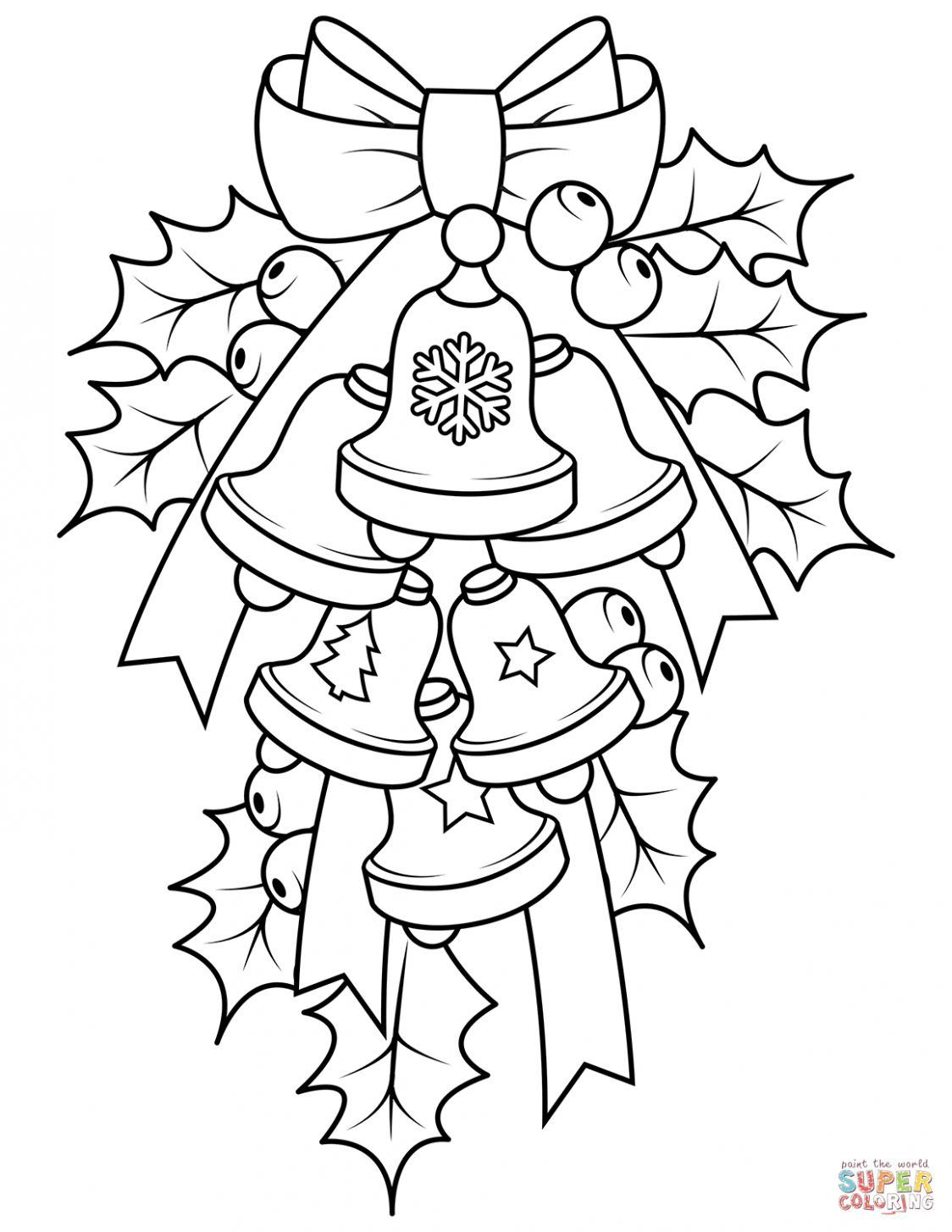 Christmas Bells and Holly coloring page | Free Printable Coloring Pages – Christmas Bell Coloring Page Printable