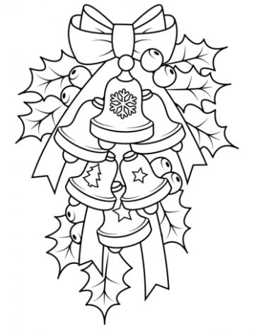 Christmas Bells and Holly coloring page | Free Printable Coloring Pages
