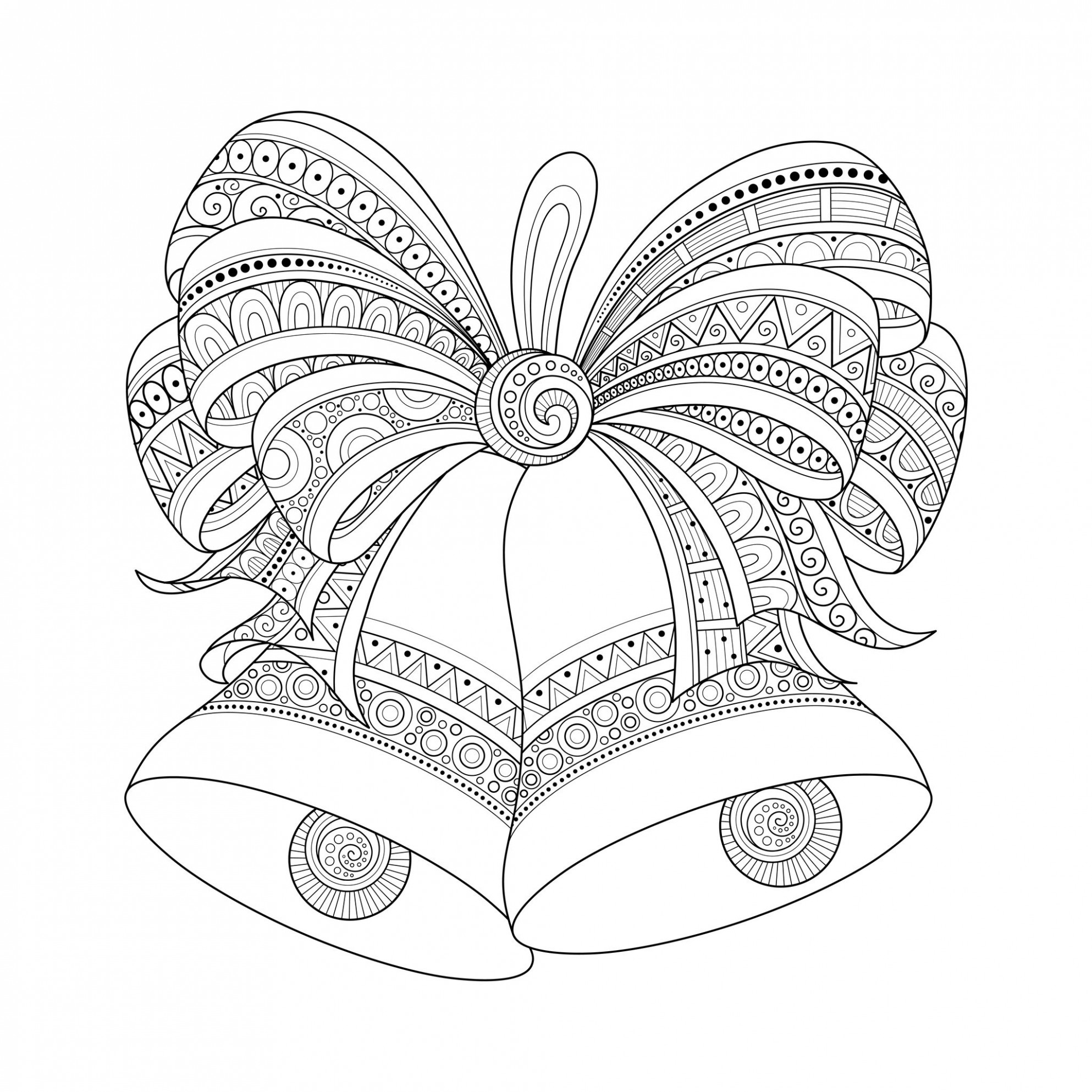 Christmas bells zentangle style – Christmas Adult Coloring Pages – Christmas Zentangle Coloring