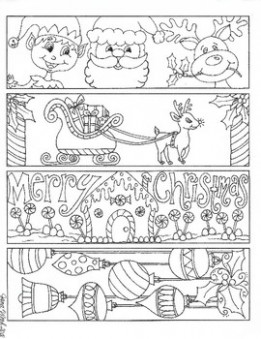 Christmas Bookmarks to color Set 15 by Jana Wood | TpT – Christmas Coloring Bookmarks