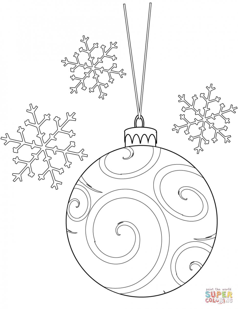 Christmas Bulb and Snowflakes coloring page | Free Printable ..