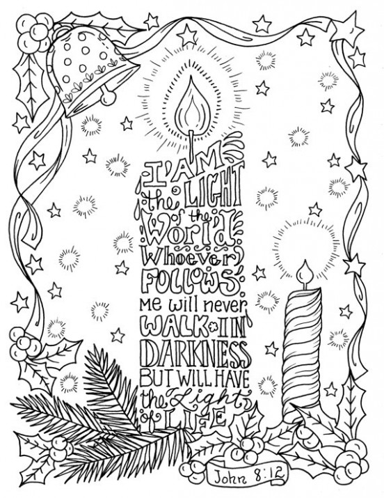 Christmas Candle Coloring page Christian Scripture Color book pages ...