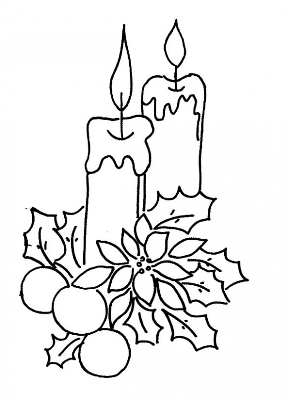 Christmas Candle Decorated With Flower And Leaves Coloring Pages ..