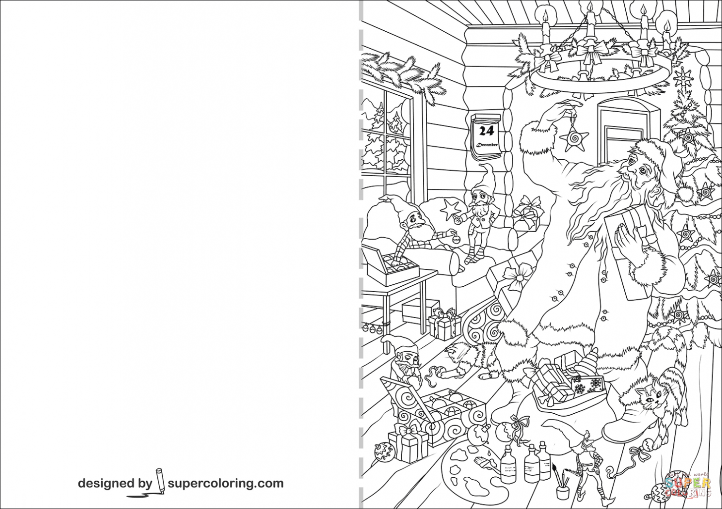 Christmas Card with Santa Claus and Presents coloring page | Free ..