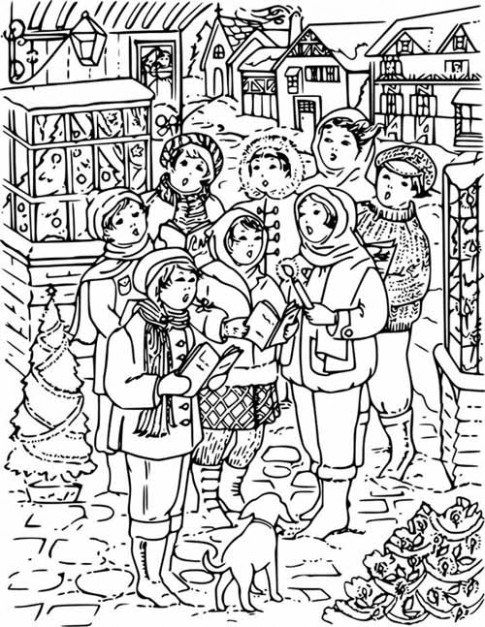 Christmas Carols Coloring Page for Kids - Free Printable Picture