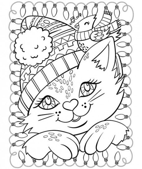 Christmas Cat and Cardinal Coloring Page | crayola