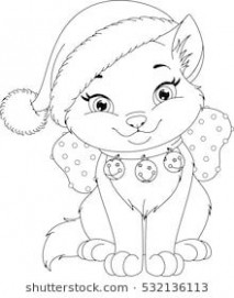 Christmas Cat Coloring Page | Cat drawing | Christmas present ..
