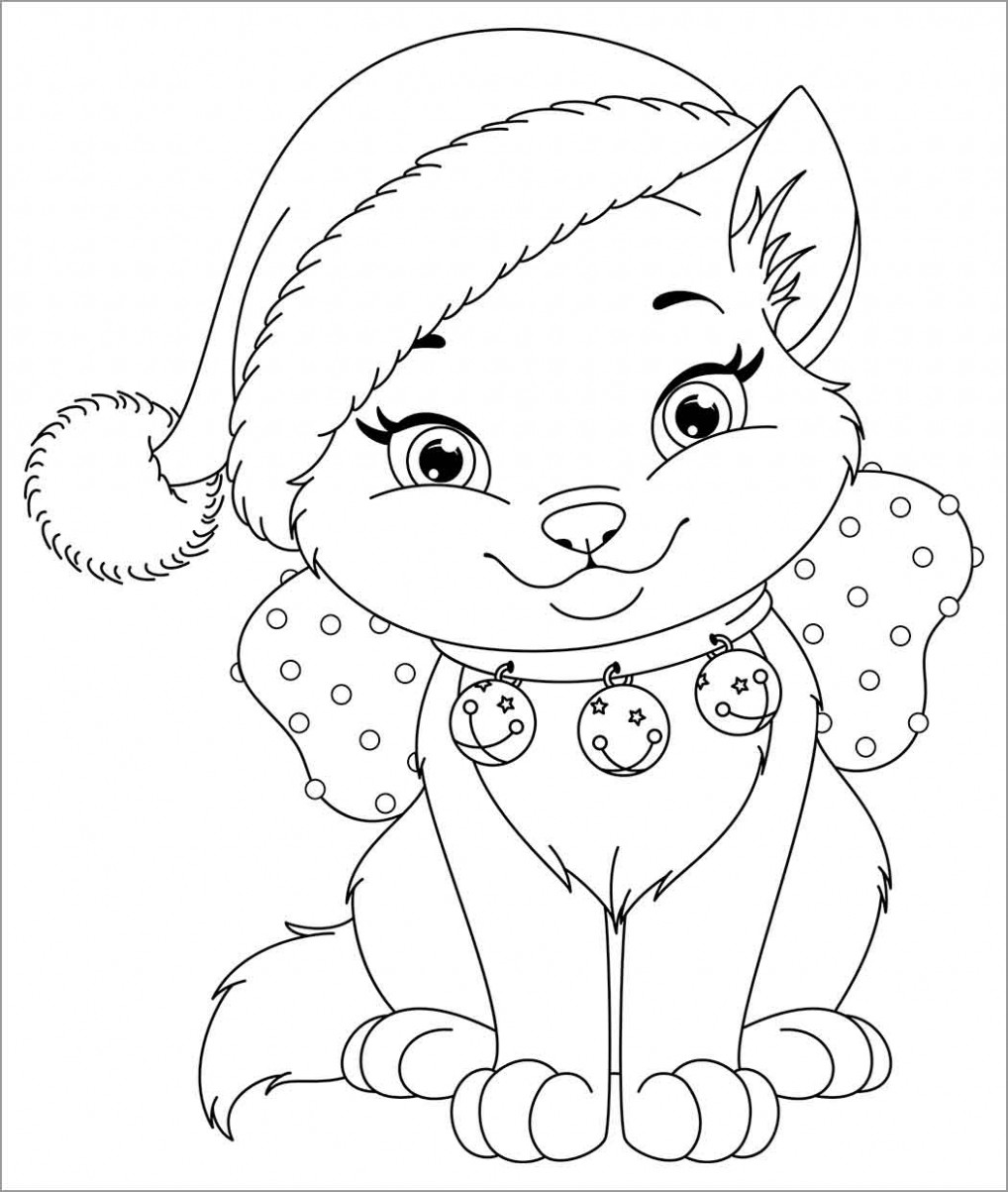 Christmas Cat Coloring Page – ColoringBay – Christmas Cat Coloring Pages