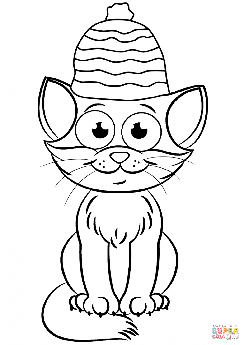 Christmas Cat coloring page | Free Printable Coloring Pages