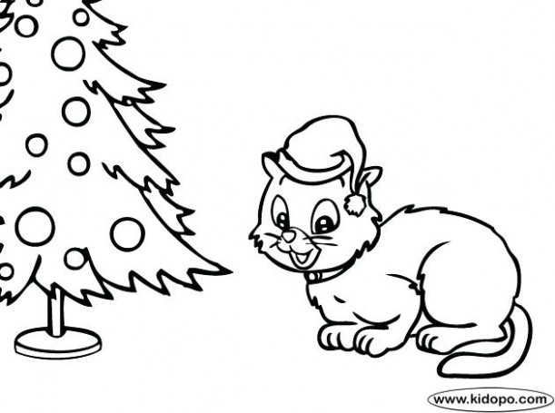 Christmas Cat Coloring Pages Save Christmas Kitten Colouring Pages ..