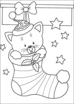 christmas cat in stocking coloring page | christmas | Christmas ..