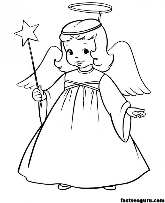 Christmas Christmas Angel And Star Printable Coloring Pages ..