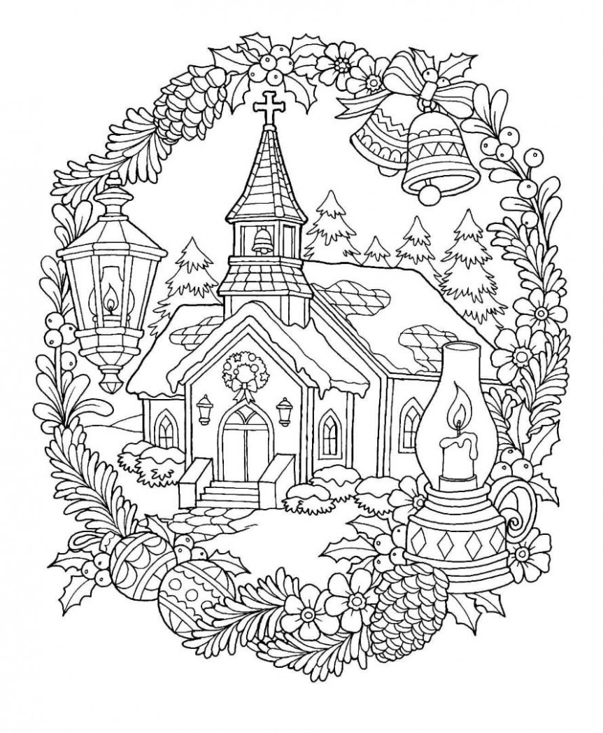 Christmas Church Coloring Page | Christmas pages to color ..