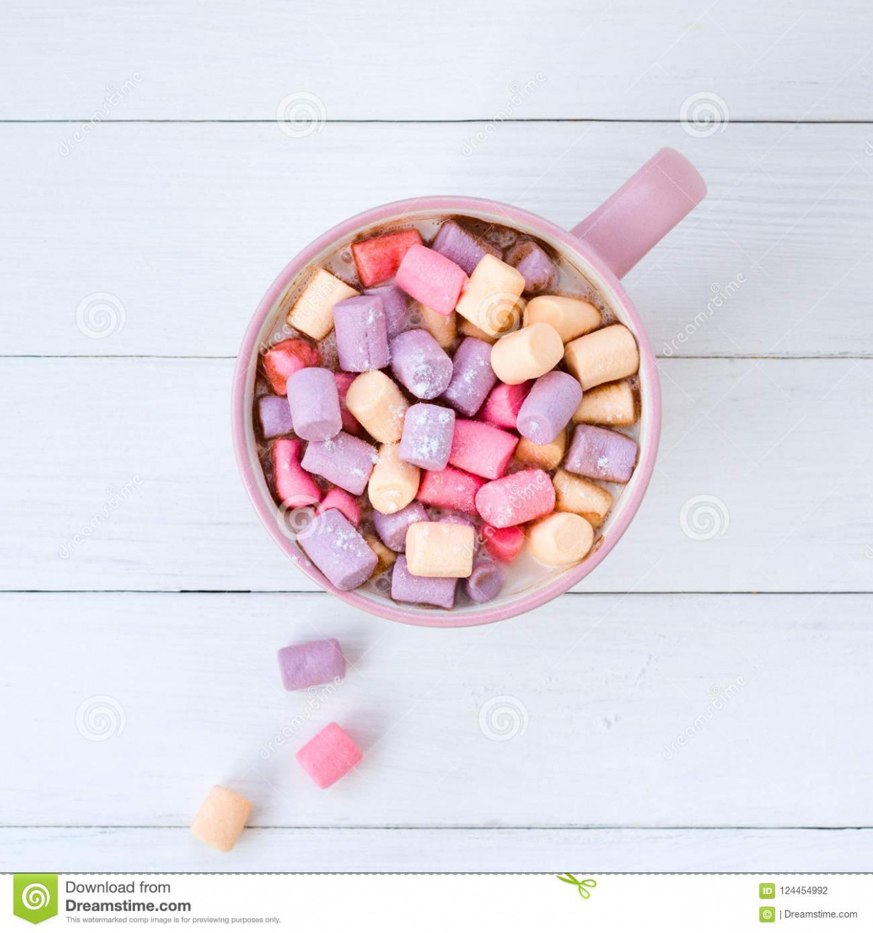 Christmas Cocoa With Marshmallow Pink Cup Stock Photo – Image of ..