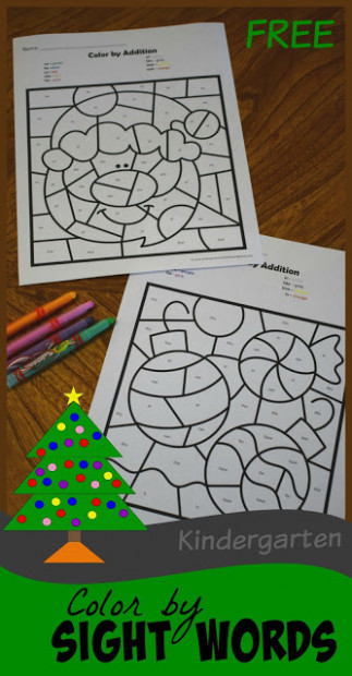 Christmas Color by Kindergarten Sight Words – Kindergarten ...