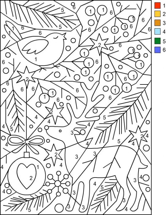 Christmas Color By Number Coloring Sheets | Coloring Pages ...