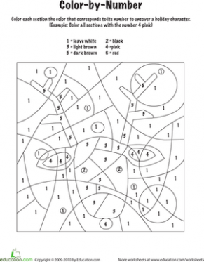 Christmas Color by Number Worksheets | Education