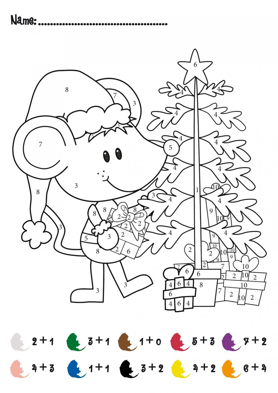 CHRISTMAS Color by Numbers Printables | Christmas Addition Math ..