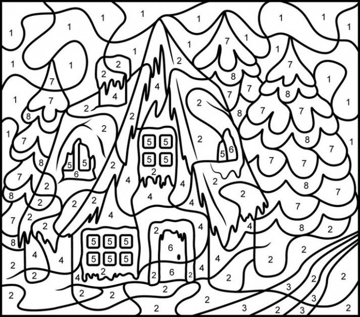 christmas color by numbers wintery town. hard christmas coloring ..