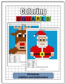 Christmas Coloring: Addition and Subtraction by Coloring Squared – Christmas Coloring Math Puzzles
