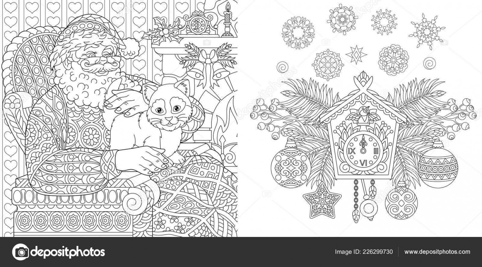 Christmas Coloring Book Christmas Colouring Pages Santa Claus Cat ...