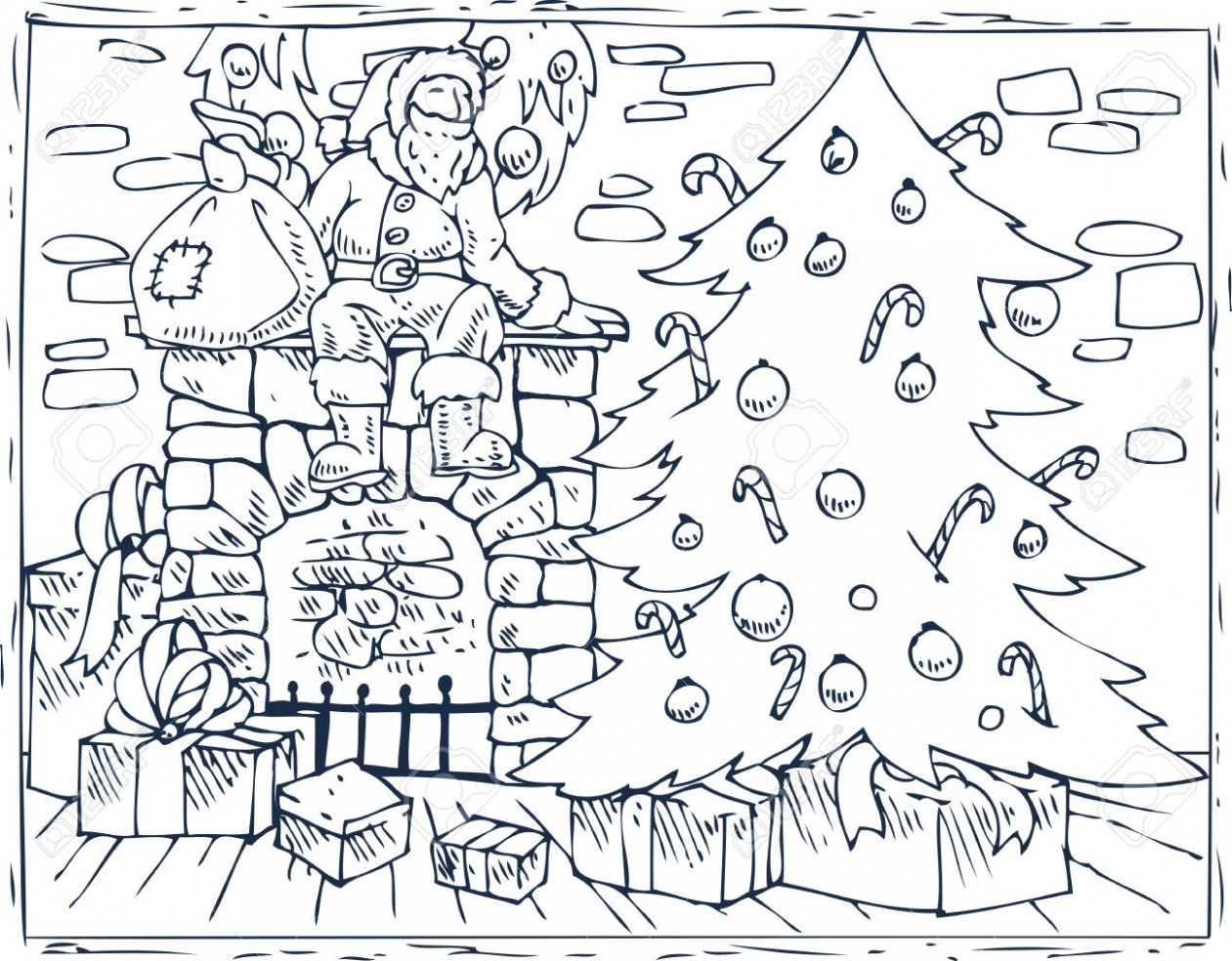 Christmas Coloring Book Page. Royalty Free Cliparts, Vectors, And ..