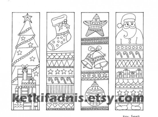 Christmas coloring bookmarks Instant PDF Download | Etsy – Christmas Coloring Bookmarks
