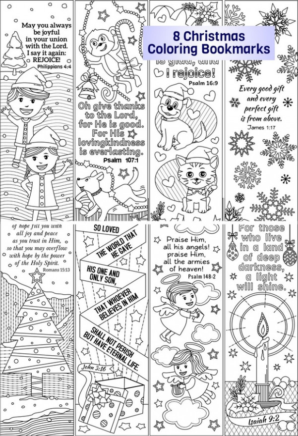 Christmas Coloring Bookmarks (plus colored items) – RicLDP Artworks – Christmas Coloring Bookmarks