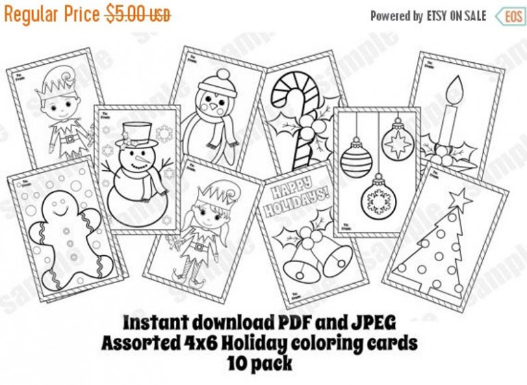 Christmas coloring cards Assorted 114 pack coloring pages 14×14 | Etsy – Christmas Card Coloring Pages Pdf