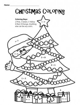 Christmas Coloring Math Coloring Worksheet by JB Education | TpT