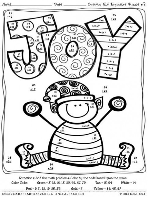 christmas coloring math worksheets the best and most | elementary ..