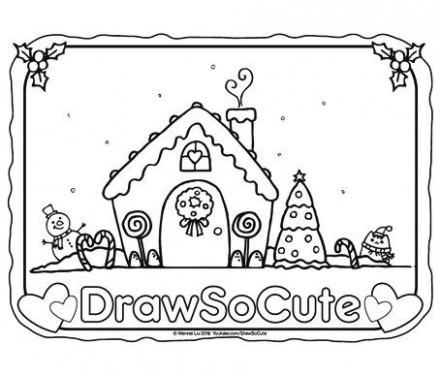 christmas coloring page gingerbread house | Holiday- Colorpages ...