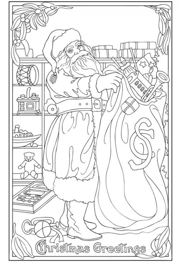 Christmas Coloring page saved from Vintage Christmas Greetings ..