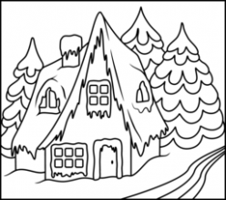 Christmas Coloring Pages – Christmas House Coloring