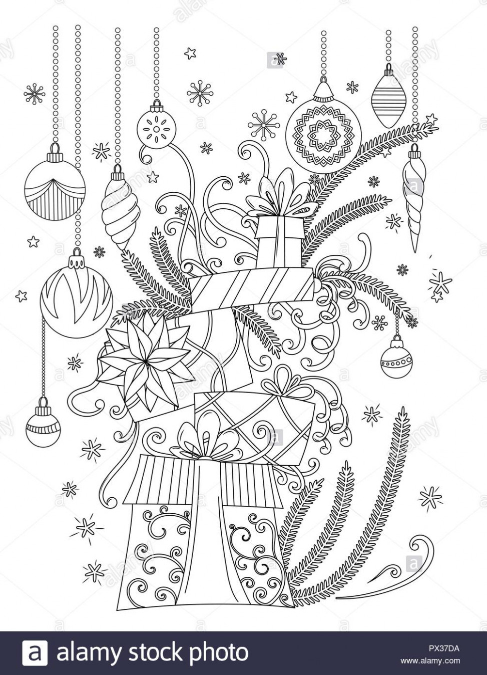 Christmas coloring Pages. Coloring Book for adults. Pile of holiday ...