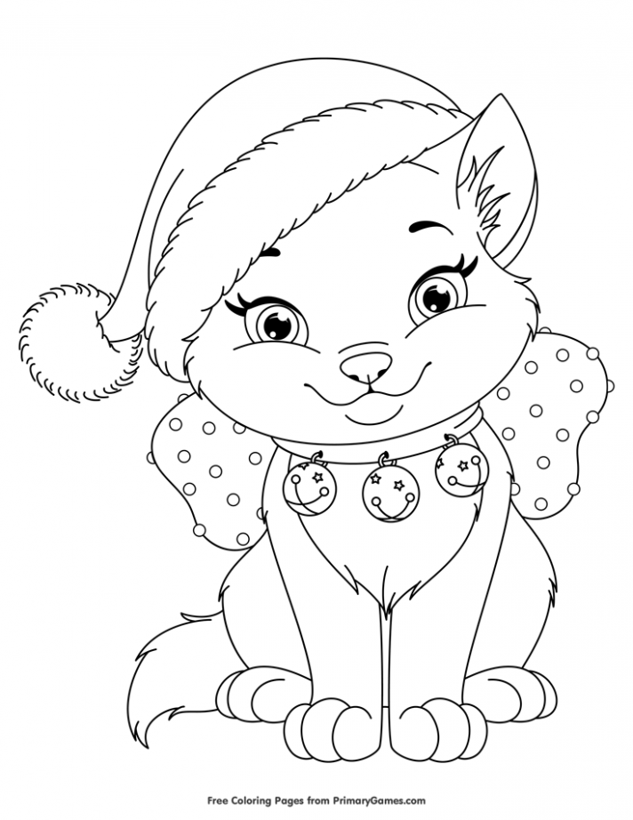 Christmas Coloring Pages eBook: Christmas Kitten | Christmas ..