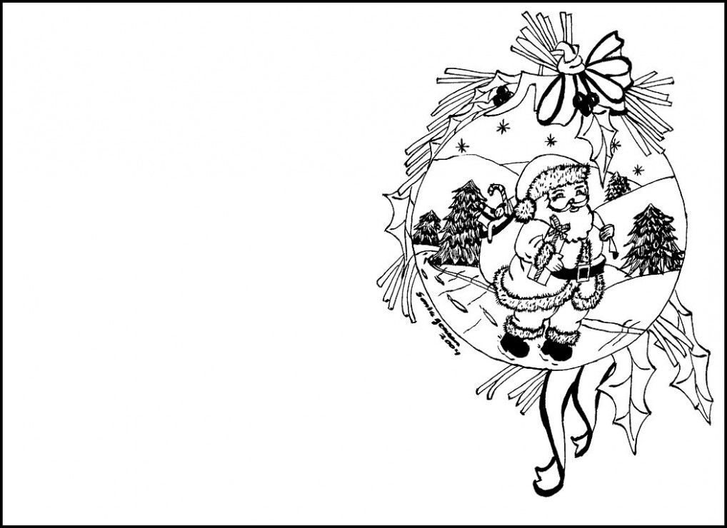 Christmas Coloring Pages for cards - Christmas Coloring In Cards