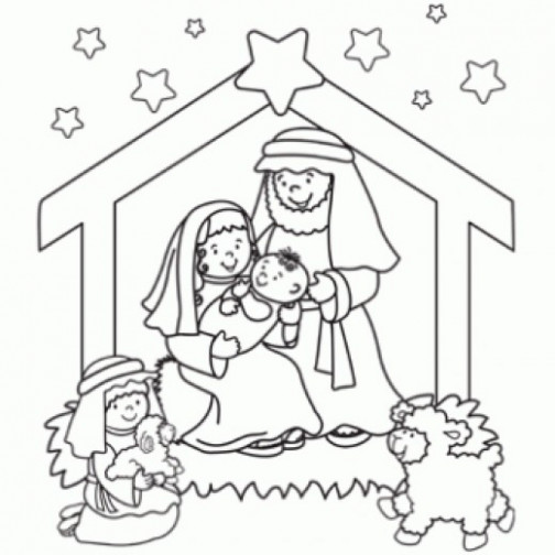 christmas coloring pages jesus manger baby in drawing at free for ..