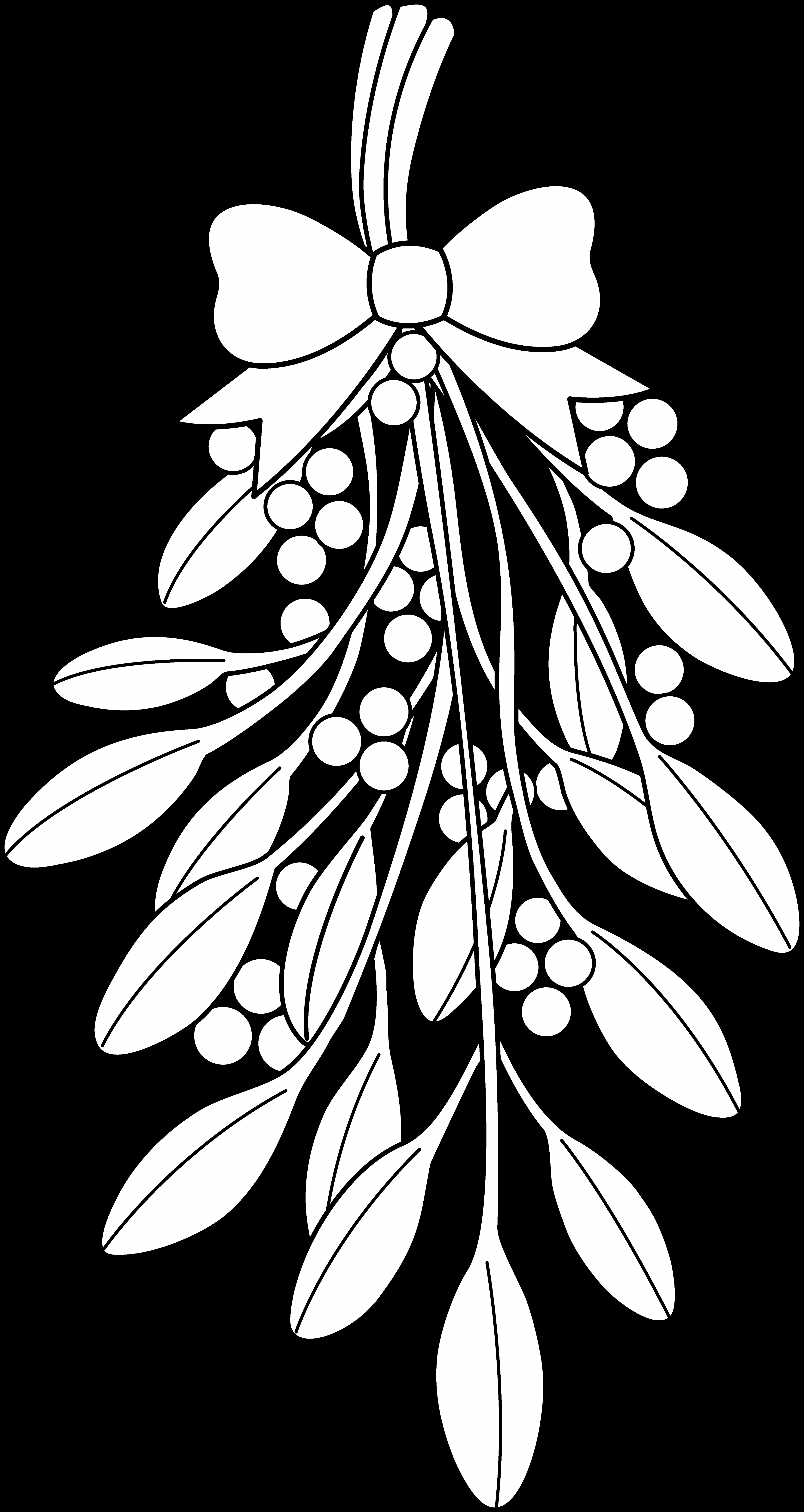 christmas coloring pages | Mistletoe Clipart Black And White | One ..