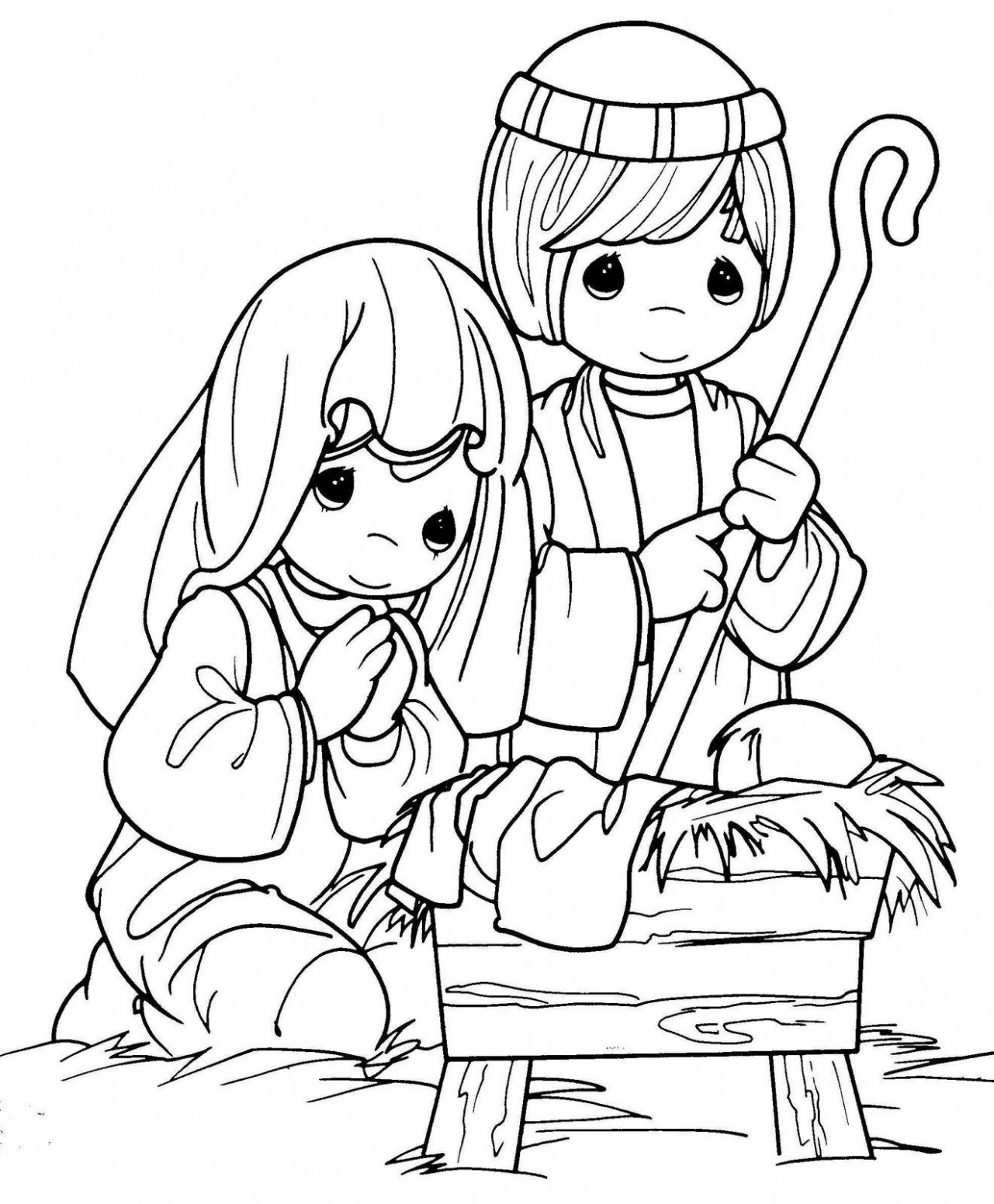 Christmas COLORING PAGES nativity. precious moments. color. Jesus ..