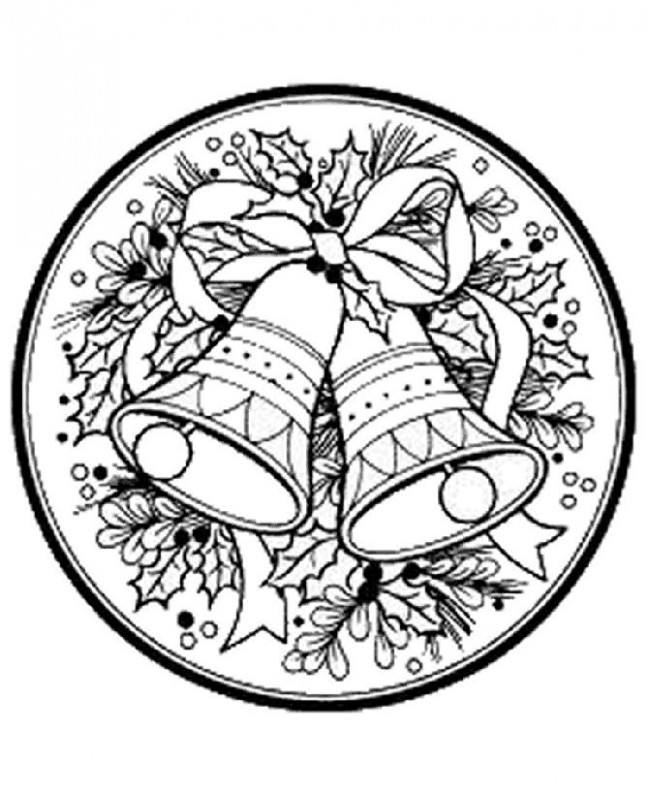 christmas coloring pages printable | … : Christmas Wreath Bells ..